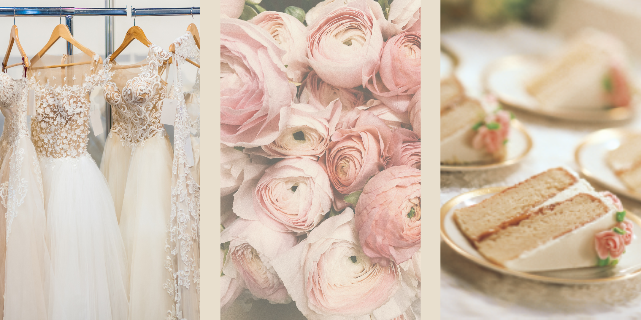 wedding dresses on hangers, pale pink roses, white cake slices on gold plates